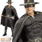 Deluxe Zorro Mens Fancy Dress Muscle Superhero Costume Outfit + Hat