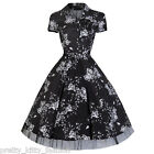 50s BLACK FLORAL COCKTAIL VINTAGE TEA SWING PROM PARTY DRESS 8-20 *FREE UK POST*