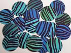 "BLUE GREEN STRIPE PRINT 1"" PRE CUT BOTTLE CAP IMAGES SCRAPBOOKING CRAFT PROJECTS"