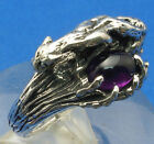 Cougar, Panther Man's Ring, Amethyst, Sterling Silver made to order your size