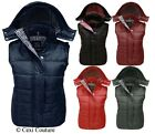 NEW LADIES SLEEVELESS HOODED QUILTED GILET WOMENS BODYWARMER JACKET SIZES 8-14