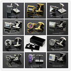 Stainless Steel Cufflinks Crystal/Shell/Glass Wedding Party Men's Free Gift Box