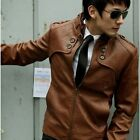 New Men's Fashion PU Leather Coat Classic Jacket 3 Colors Size M-XXL Q396