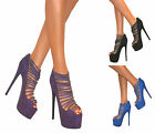 WOMENS STRAPPY PEEP TOE PLATFORM COURT SHOE STILETTO HIGH HEELS SANDALS SIZE