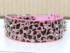 Pink Leopard Spiked Studded Leather Large Dog Collar spikes Size S M L XL