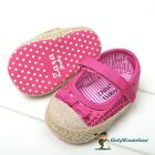 NWT Baby Girls Hot Pink Sequins Straw Toe Shoes Prewalkers Size 0-18m