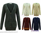 LADIES WOMENS VARAN CABLE KNITED GRANDAD BUTTONED BOYFRIEND POCKET CARDIGAN TOP