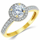 14K Solid Yellow Gold CZ Cubic Zirconia Halo Design Solitaire Engagement Ring