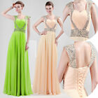 Champagne/Green Long Bridesmaid Wedding Gown Lady Evening Prom Ball Party Dress