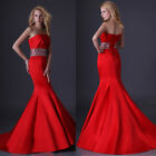 Charming Strapless Formal Wedding Mermaid Prom Ball Gowns Party Long Dresses Red