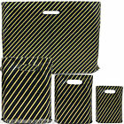 NEW BLACK AND GOLD STRONG PLASTIC CARRIER BAGS STRIPED SHOPPING RETAIL BAGS