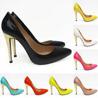WOMENS HIGH HEEL POINTED CORSET STYLE WORK PUMPS COURT SHOES Patent HDF302-1A