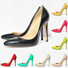 WOMENS HIGH HEEL POINTED CORSET STYLE WORK PUMPS COURT SHOES Patent DF302-1 2-9