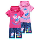 Childs Kids Boys Girls Peppa Pig Hoodie Tops T-Shirts+Jeans Shorts Suits 2-8Yrs