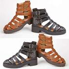 LADIES CLEATED SANDALS GLADIATOR CUT OUT CHUNKY HEELS SUMMER BEACH SHOES SIZE