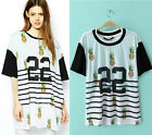 Womens European Fashion 22 Print Stripe Splice Short Sleeve T-Shirt B5165