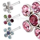 Crystal flower & Surgical steel Nose stud 20G (0.8mm x 8mm) COMES IN 4 COLOURS