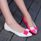 Fashion Bright Bowknot Womens Ballet Flat Pointed Toe Slip On Loafers Shoes FREE