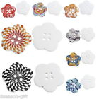 50PCs Sewing Buttons Wood 4 Holes Flower Shape Multicolor Mixed 27mm x27mm