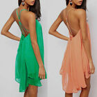 New Women's Sexy Backless Open Cross Back Swing Prom Cocktail Club Evening Dress