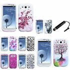 7 Choice Zebra/Leopard/Love Tree Silicone Case+Pen for Samsung Galaxy S3 I9300