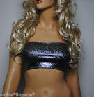 METALLIC SILVER HOLO FOIL LYCRA MINI BOOB TUBE BANDEAU CROP TOP CLUB DANCE W393