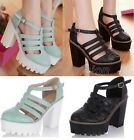 Womens Cutout T-Strap Platform Chunky High Heel Gladiator Sandals Shoes 268-1