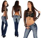 D37 Womens Jeans Bootcut Flared Jeans Denim Bell-bottoms Hipsters Sexy XXS - L