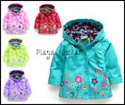BABY GIRL RAIN MAC COAT SPRING SUMMER JACKET with HOOD WINDBREAKER FLOWER 12M-5Y