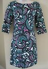 BANANA REPUBLIC Women's Black Paisley Pattern 3/4 Sleeve Dress PETITE 00,0,4 NWT