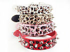LARGE Spiked Solf PU Leather Dog Collar-Staffy Stud Studded Spike Size S M