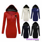 LADIES WOMENS LONG SLEEVES MISS SEXY HOODIE PLAIN TOP JUMPER HOODED SWEATSHIRT