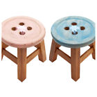 SMALL WOODEN CHILDRENS STOOL CHILD KIDS SEAT SHABBY VINTAGE BUTTON TOP PINK/BLUE