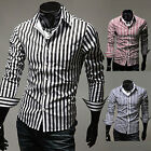 Luxury Fashion Slim Stripped Design Men Formal Long Sleeve Casual Shirts Top NEW