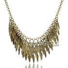 CHUNKY LAYERING MULTI LEAFS CLUSTER PENDANT BIB VINTAGE STYLE STATEMENT NECKLACE