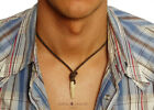 SURFER STYLE Mens Necklace Leather Chain Man Pendant Tusk Cross for Men Beach