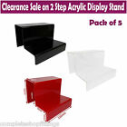 5x NEW 2 STEP ACRYLIC DISPLAY STAND RETAIL SHOP JEWELLERY TWO TIER NAIL VARNISH