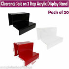20x NEW 2 STEP ACRYLIC DISPLAY STAND RETAIL SHOP JEWELLERY TWO TIER NAIL VARNISH