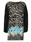 NEW WOMENS ANIMAL FLORAL PRINT LADIES PLUS SIZE CHIFFON LONG SLEEVE TOPS UK14-28