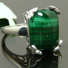 Substanitial Chunky Genuine Malachite Ring Platinum Plated
