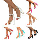 WOMENS GOLD ANKLE CUFF PEEP TOE HIGH BLOCK HEELS STRAPPY SANDALS SHOES PROM SIZE