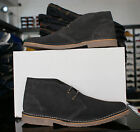 Mens Designer Stylish Roamers Mod Dress Casual Lace Up Suede Desert Boots  Grey