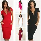 Womens Sexy Deep V-neck Pencil Dress Bodycon Business Cocktail Party Dresses