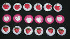 STRAWBERRY/CHERRY FABRIC COVERED BUTTONS available in 20mm size