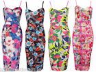 Ladies Cele Floral Botanic Print Strappy Bralet Bodycon Midi Dress Length 45""