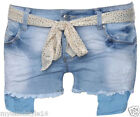 Womens Distressed Raw Edge Foil Belted Stretch Light Wash Denim Hot Pant Shorts