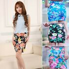High Waist Chinese Peony Print Short Mini Dress Pencil Skirt Elastic Bodycon