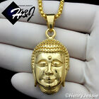 """18-32""""MEN Stainless Steel 3mm Gold Smooth Box Chain Necklace 3D BUDDHA Pendant"""
