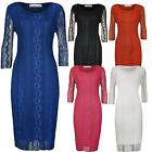 New Ladies Plus Size Scoop Neck Lace Floral Lined Party Knee Length Dress 14-28