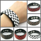 UH026 Plain Weave Black/White/Red/Brown Check Leather Wristband/Cuff Punk Gothic